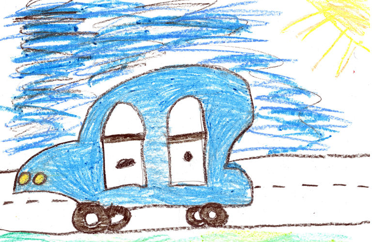 child's sketch of a blue 2018 Honda Odyssey on a sunny day