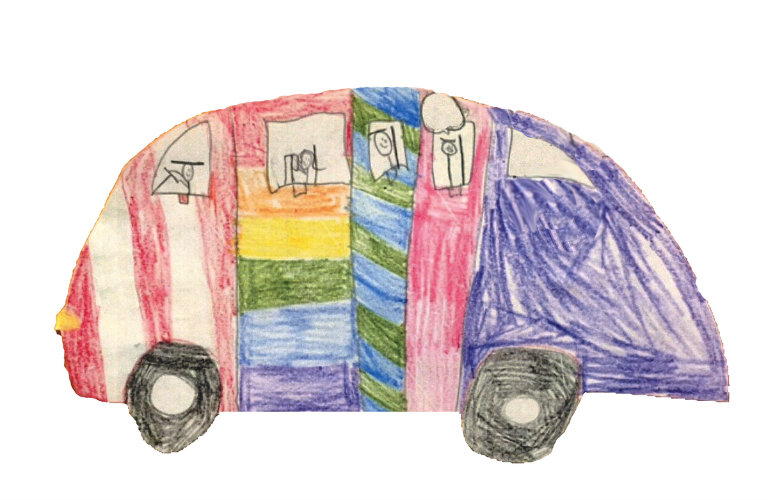 child's sketch of the 2018 Honda Odyssey featuring lots of colors and stick figures