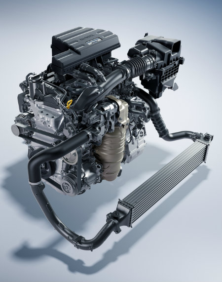 turbocharged engine of the 2017 Honda CR-V on a blank background