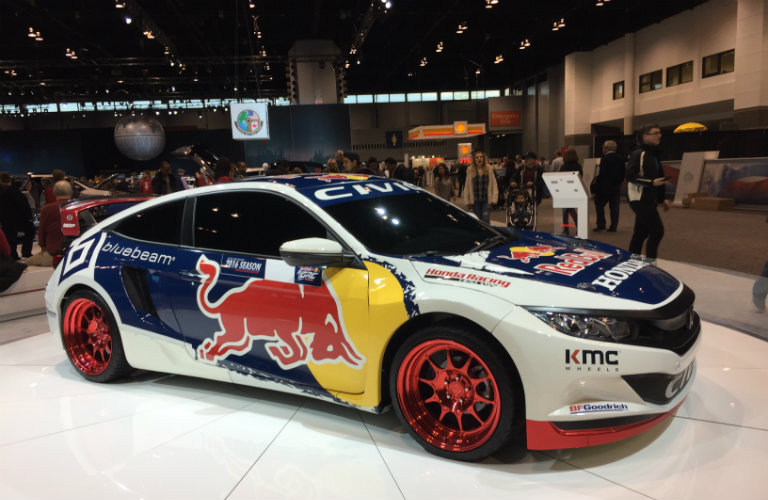 side view of the 2016 Honda Civic Red Bull Racing Coupe at the 2017 Chicago Auto Show