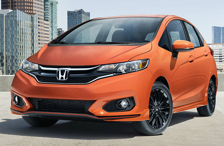 close-up of the 2018 Honda Fit Sport in orange