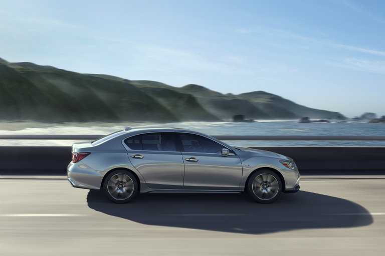 2018 acura exterior colors. plain 2018 side view of a grey 2018 acura rlx on the highway inside acura exterior colors