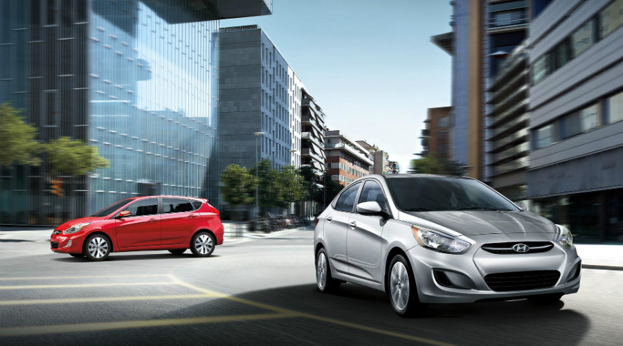 red 2017 Hyundai Accent hatchback and silver 2017 Hyundai Accent sedan