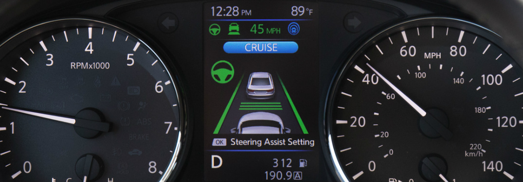 ProPILOT Assist screen on instrument panel in 2018 Nissan Rogue SL
