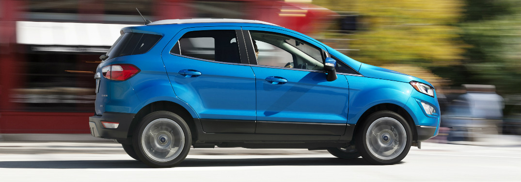 blue 2018 Ford EcoSport exterior passenger side view