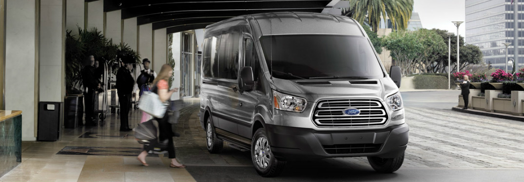 2017 Ford Transit Wagon parked outside of hotel