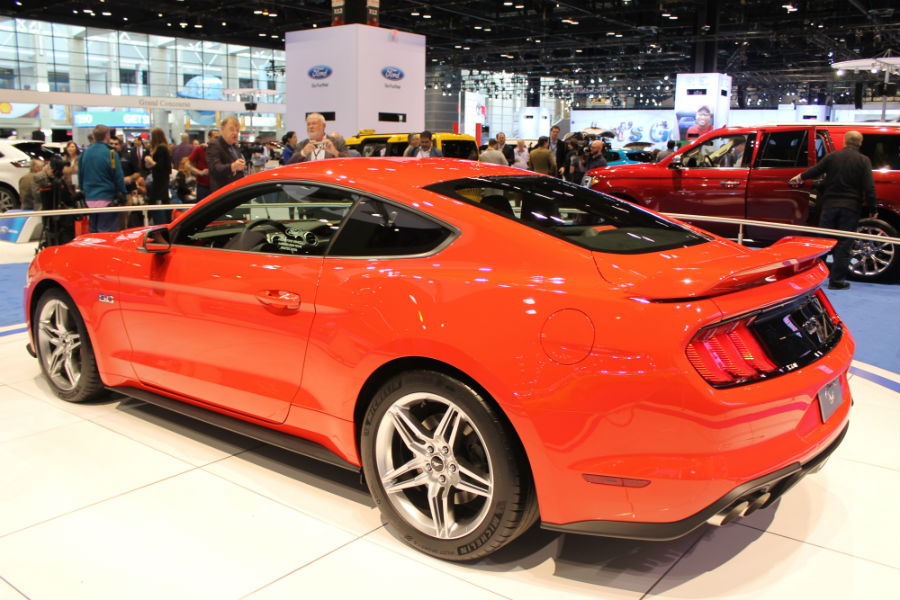 new 2018 Mustang shows off new sleeker shape at Chicago Auto Show