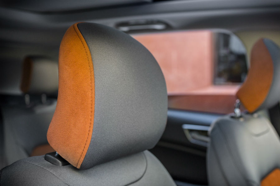 Dark accents on upholstery add refinement to 2018 Edge