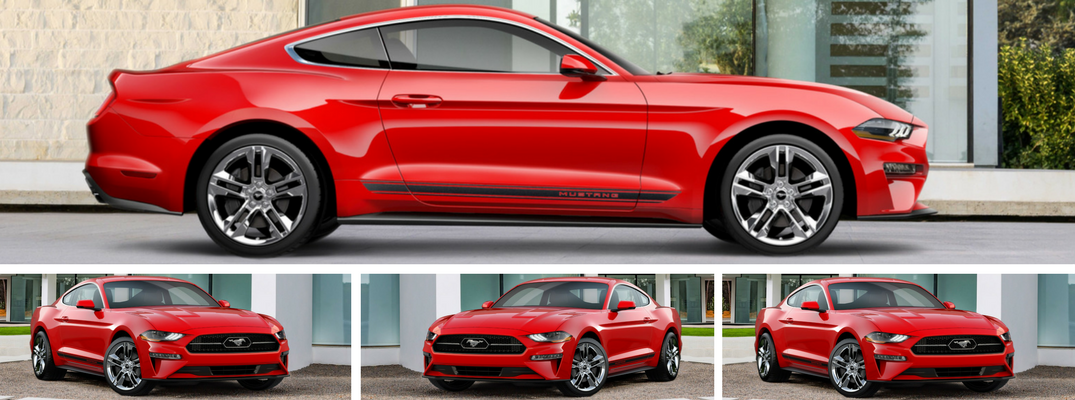 Side View of Exterior and mini shots of front exterior below - New 2018 Ford Mustang Appearance Package Corrals Chrome Pony