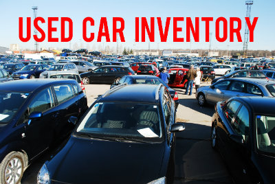 """button with a view of a car lot and the words """"Used Car Inventory"""""""