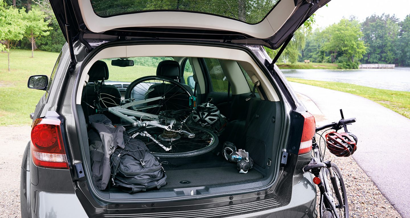 2017 Dodge Journey with a bike in the back