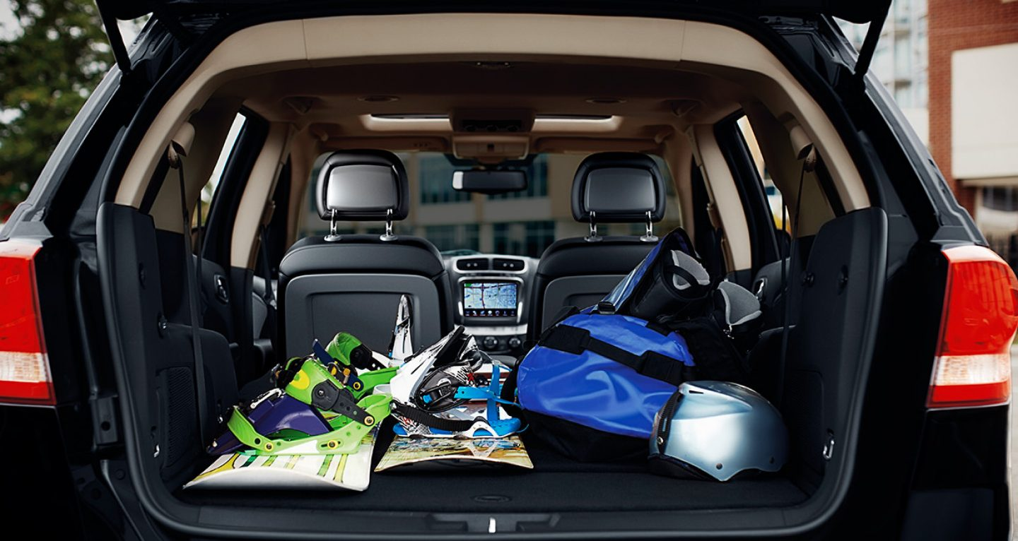 2017 Dodge Journey with snowboarding gear in back