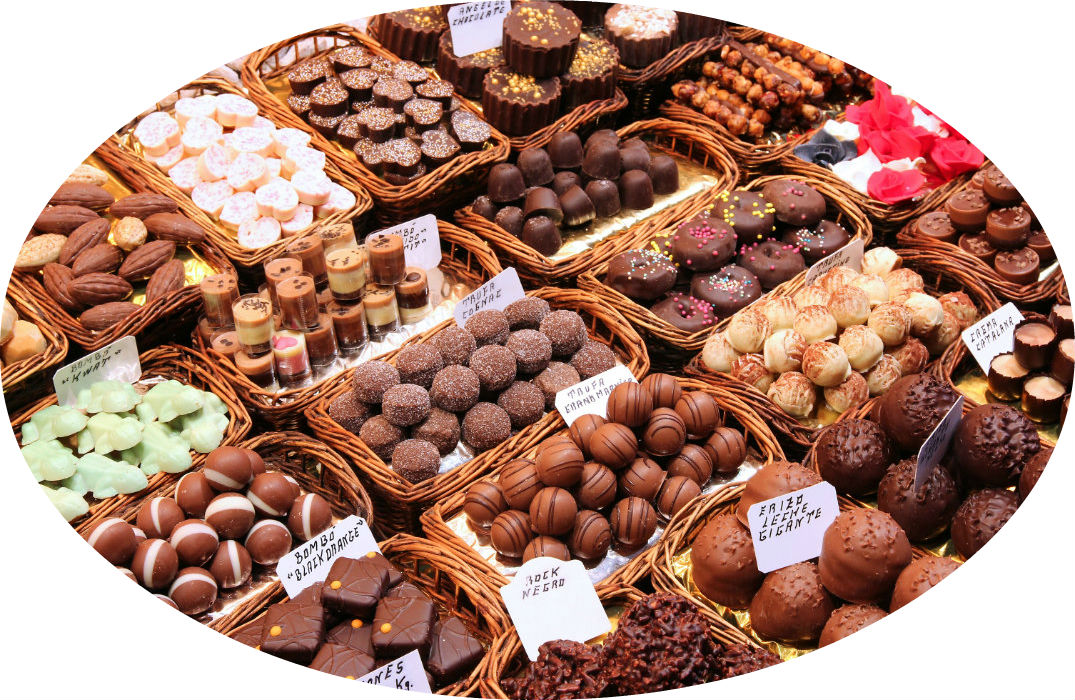 Candy store with selection of chocolates