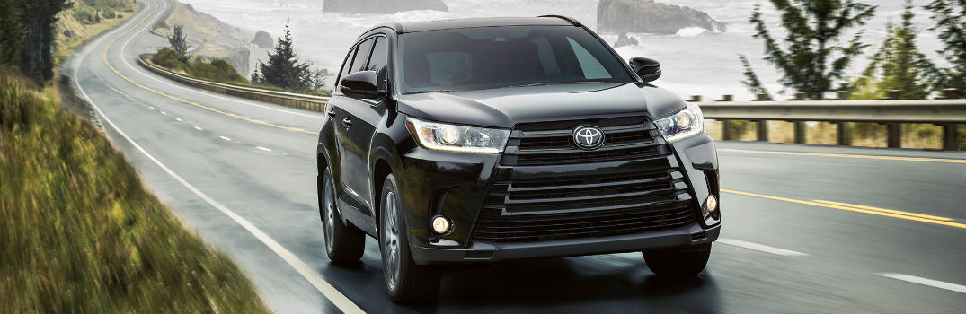2017 Toyota Highlander front driving view.