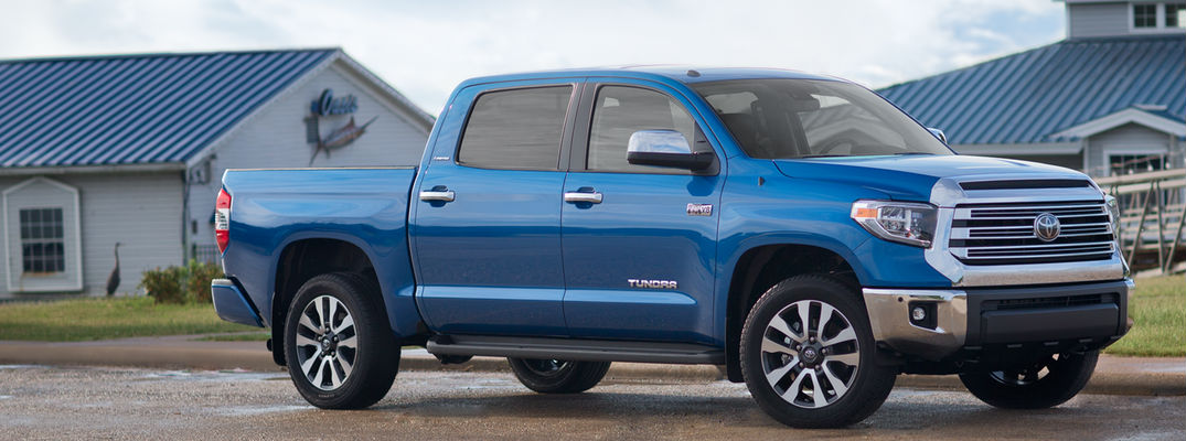 2018 Toyota Tundra side profile view in blue