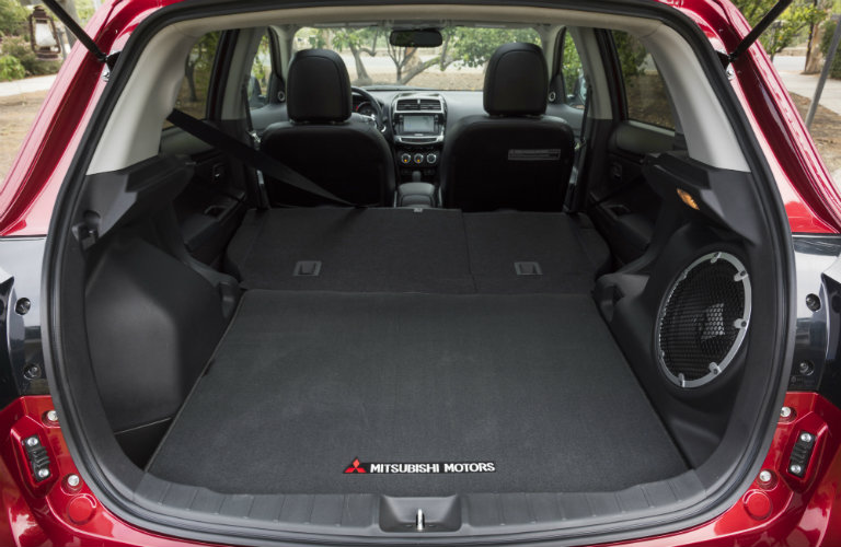 Cargo area of 2017 Mitsubishi Outlander Sport with rear seats collapsed