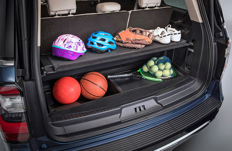 2018 Ford Expedition cargo management system filled with sporting goods