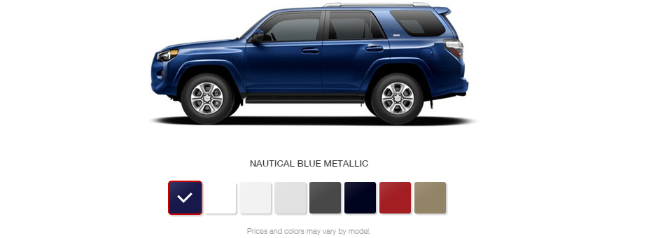 what are the color options for the 2016 toyota 4runner. Black Bedroom Furniture Sets. Home Design Ideas
