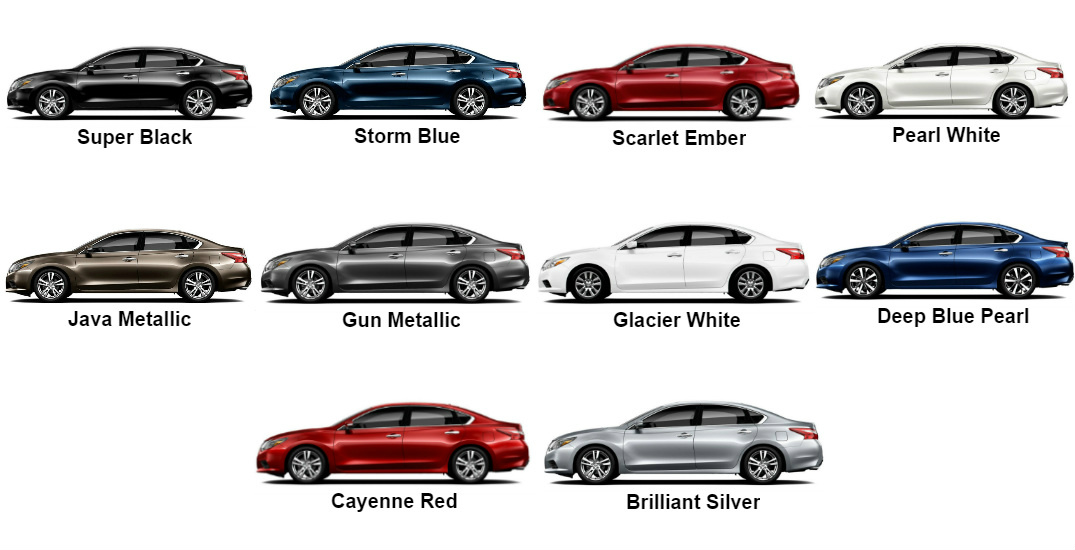 2017 Nissan Altima Color Options - 10 Colors Pictured Here