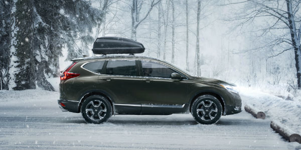 Honda CR-V Side View in Grey in the Snow