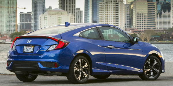 2016 Honda Civic Coupe Rear End View in Blue