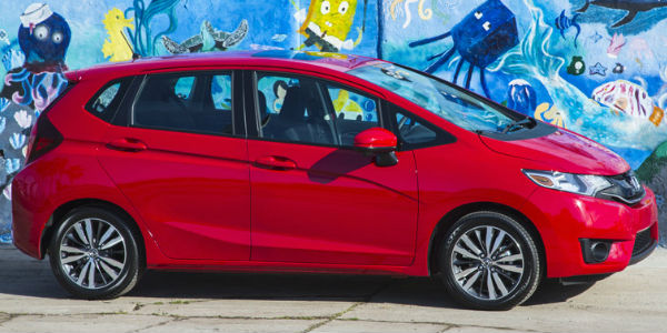 2017 Honda Fit Exterior Side View in Red