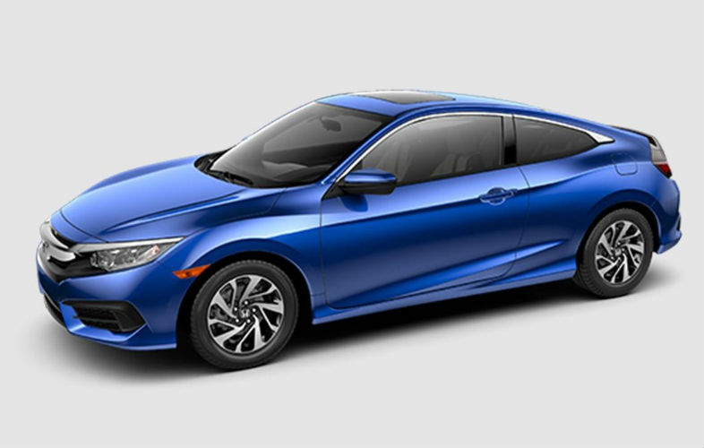 2016 honda Civic two-door Coupe side view in blue.