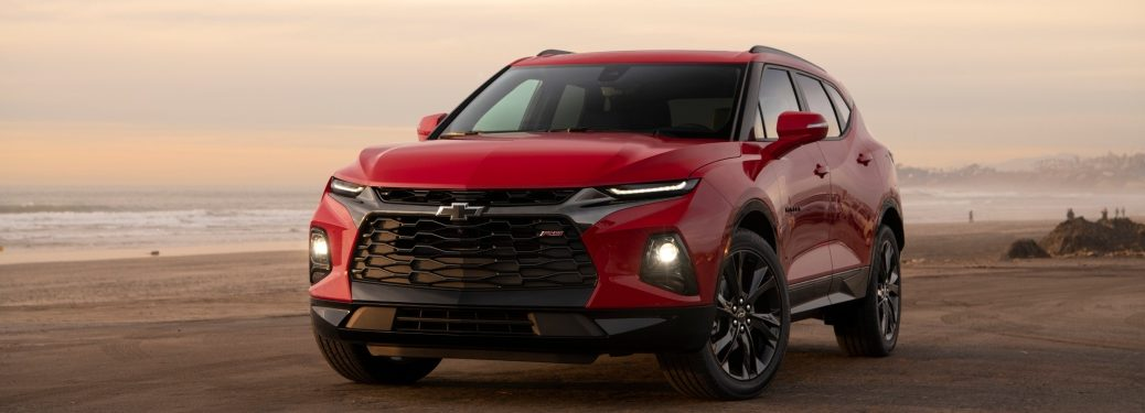 2019 Chevy Blazer red and black front view