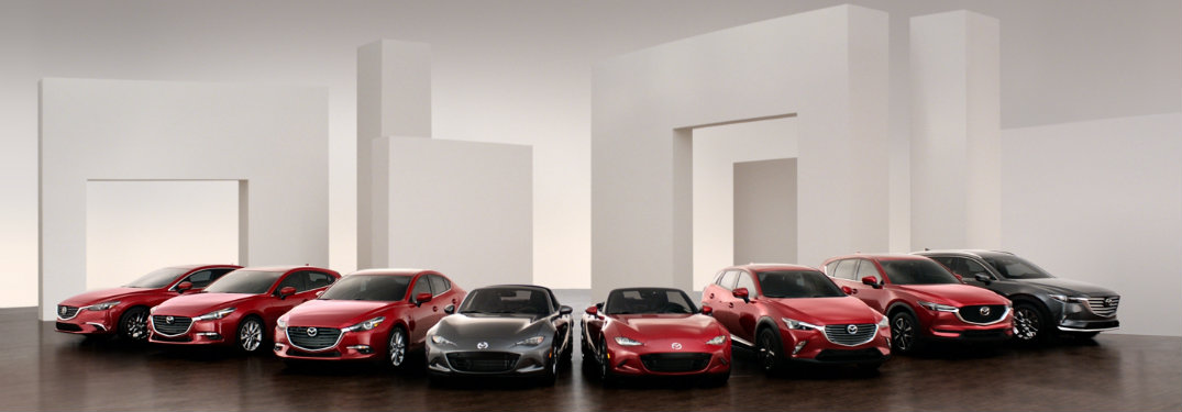 all mazda vehicles lined up