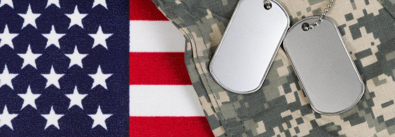 american flag, dog tags, camo