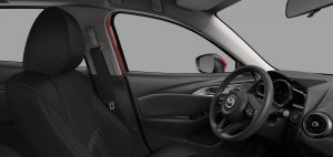 Image of the black cloth interior of a 2019 Mazda CX-3