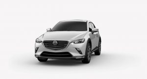 Exterior view of a Ceramic Metallic 2019 Mazda CX-3