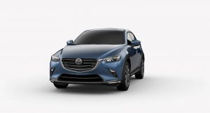 Exterior view of a Eternal Blue Mica 2019 Mazda CX-3