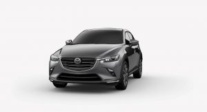 Exterior view of a Machine Gray Metallic 2019 Mazda CX-3