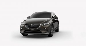 Exterior view of a Titanium Flash Mica 2019 Mazda CX-3