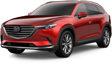 Exterior view of a red 2019 Mazda CX-9 Grand Touring trim