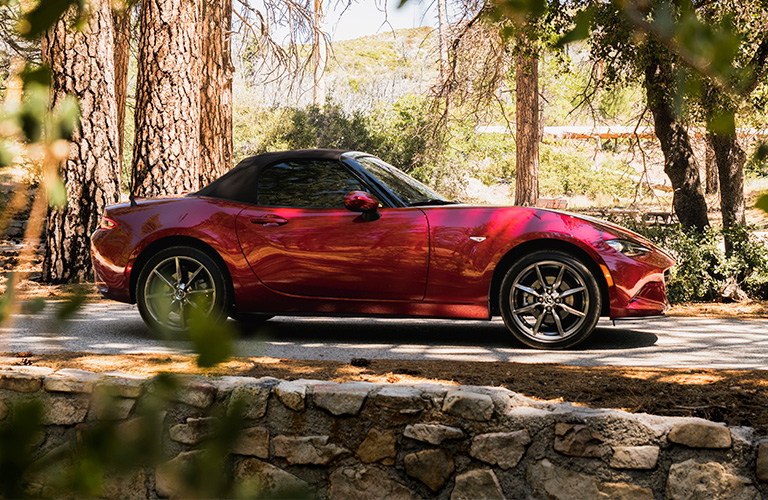 Exterior view of a 2019 Mazda MX-5 Miata parked in a park with palm trees surrounding the vehicle