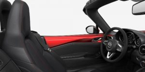 2019 Mazda MX-5 Miata Black Leather with Red Accent Stitching Interior Color Option
