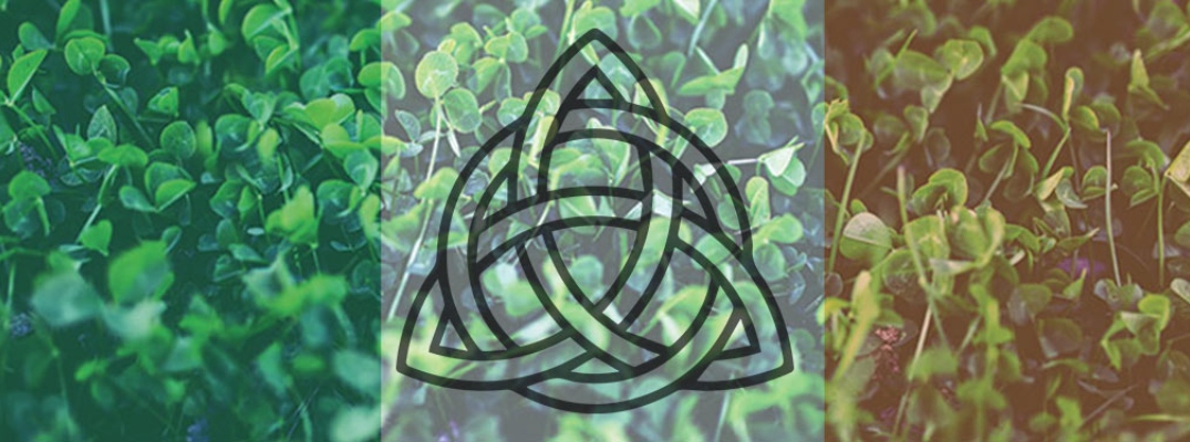 Irish Trinity Knot against the Irish flag colors covering a patch of four-leaf clovers