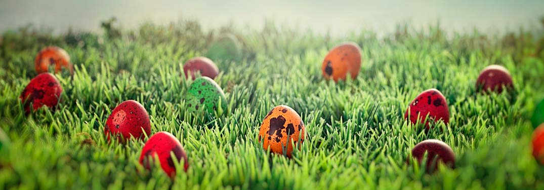 Image of several colorful Easter Eggs spread out on a patch of grass