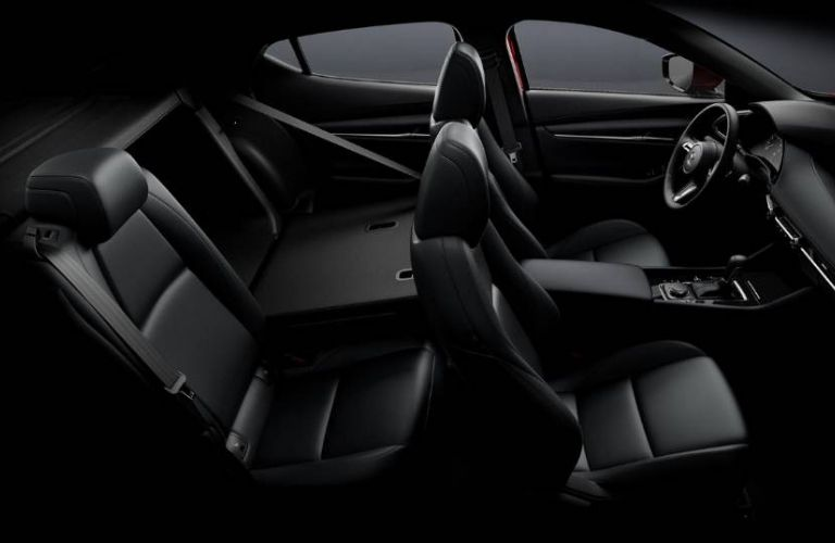 Interior view of the black seating inside a 2019 Mazda3 Hatchback