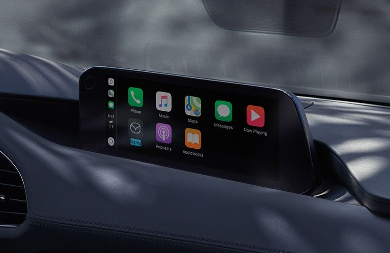Interior view of the 8.8-inch touchscreen display with Apple CarPlay™ inside a 2020 Mazda3 Hatchback