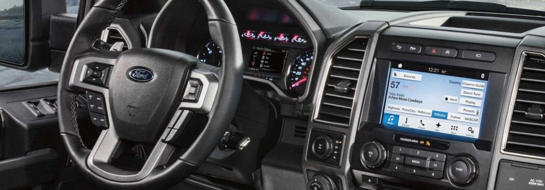 Steering wheel and infotainment system of the 2018 Ford F-150 Raptor