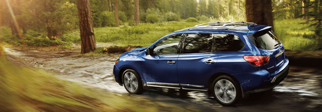2019 Nissan Pathfinder driving on an off-road trail