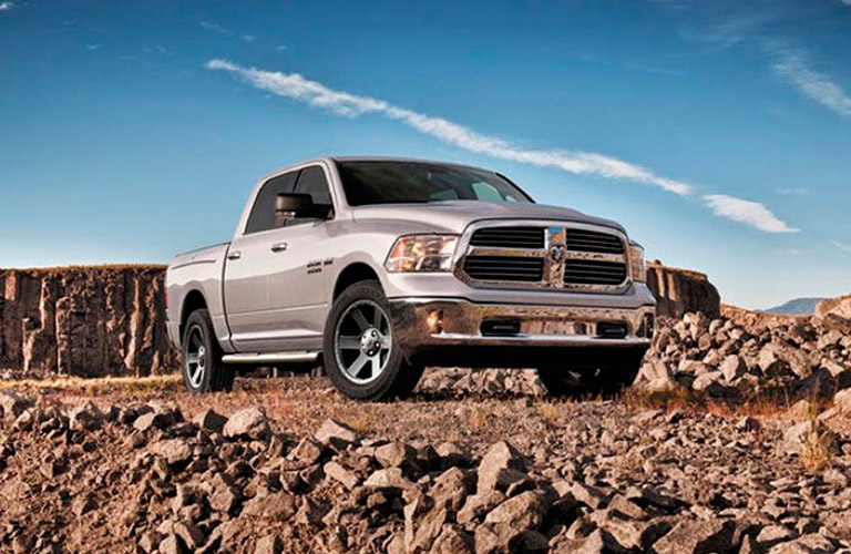 silver RAM 1500 front side view