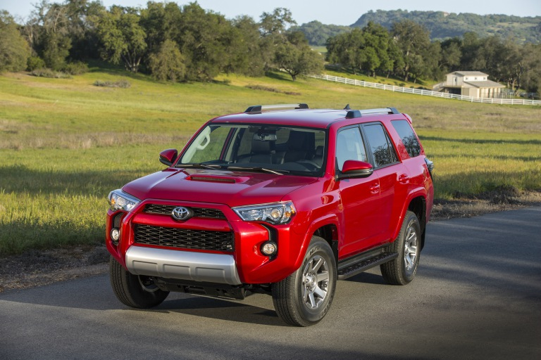 red Toyota 4Runner front side view