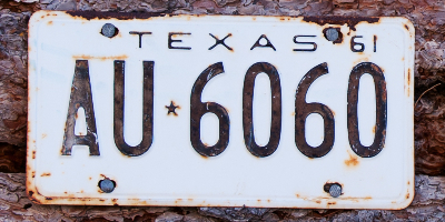 Old and rusted Texas license plate