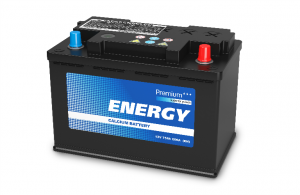 generic car battery on a white background
