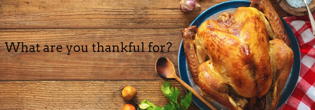 What are you thankful for with turkey on wood table