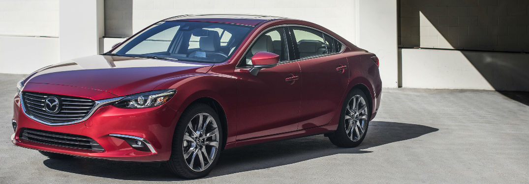 Exterior View of the 2017.5 Mazda6 in Red Front and Side View